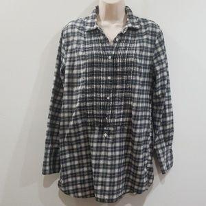 J. Crew 100% cotton plaid flannel size s blouse
